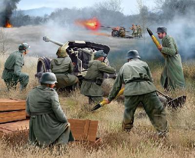 German 7.5 Cm Pak et équipage de la seconde guerre mondiale 1//72 Revell 02531